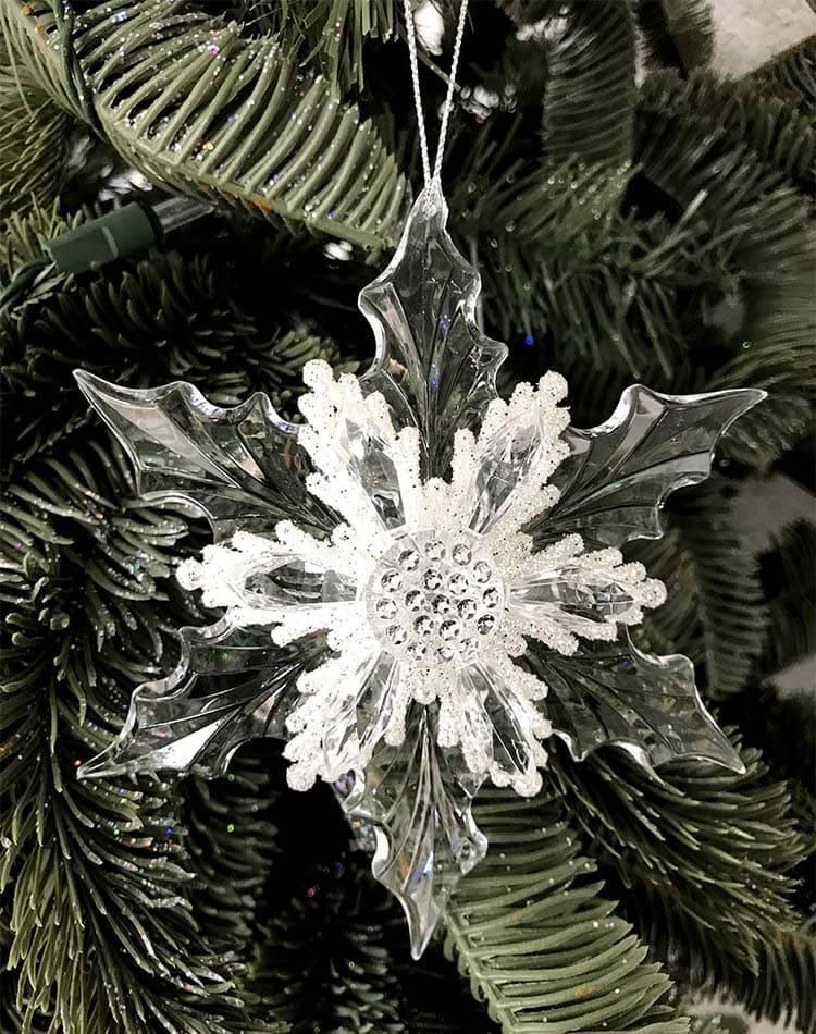 Ёлочное украшение Подвеска Снежинка остроконечная с блёстками, 13 см