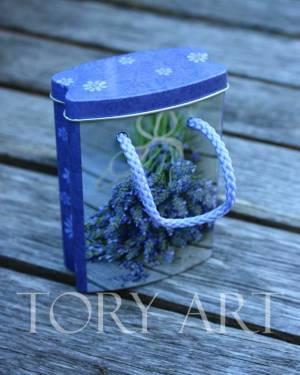 Коробка-сумочка метал лаванда - заказ и доставка цветов Киев