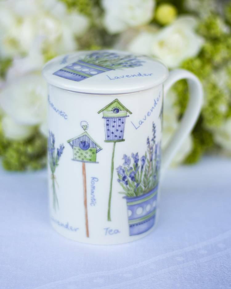 Набор для чая TEAMUG Лаванда с крышкой + сито 10CM