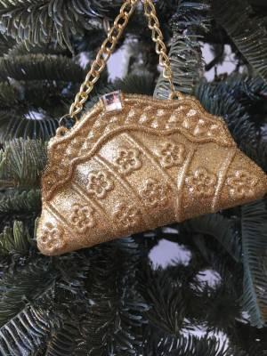 Ёлочное украшение Сумочка золото, 12.5 см - заказ и доставка цветов Киев