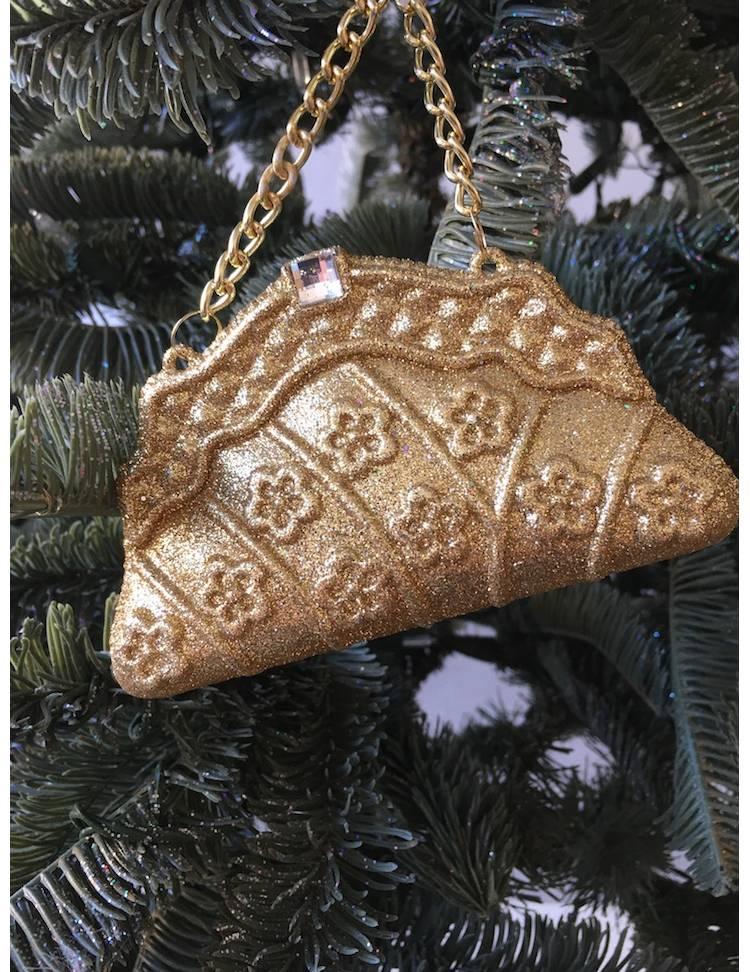 Ёлочное украшение Сумочка золото, 12.5 см