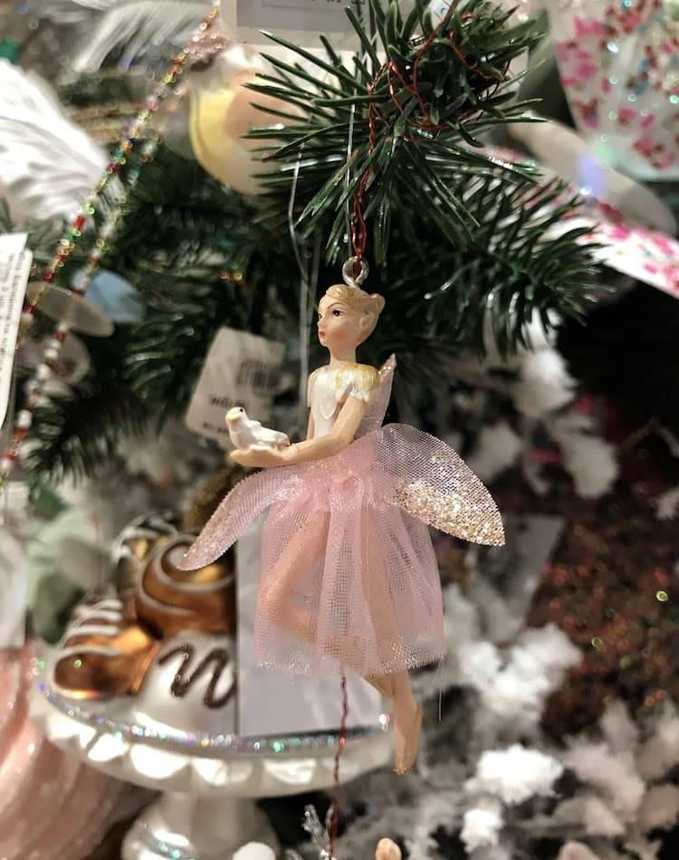 Новогодняя Балерина на клипсе, ткань, блёстки, розовый/хром, 7см