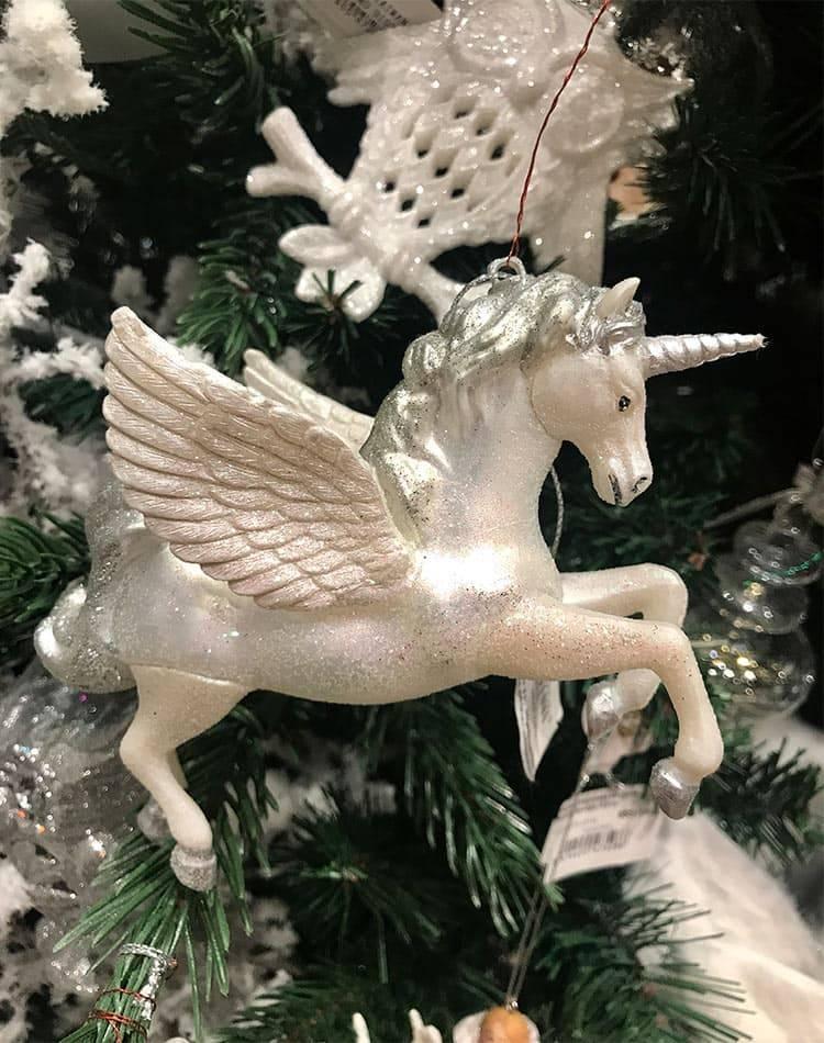 Новогодний стеклянный летящий единорог, белый/серебро, 13,5 см