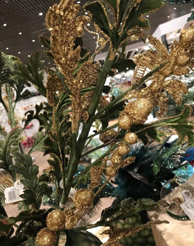 Новогоднее украшение Стебель с листьями аканта в блёстках, тканевый, зеленый/золото, 89 см