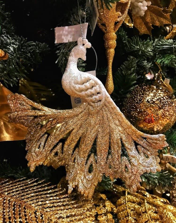 Новогоднее  украшение Павлин с распущенным хвостом, в ассортименте, белый/золото, 13 см