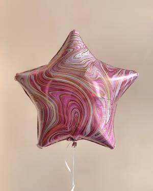Шар фольгированный Звезда розовый мрамор - заказ и доставка цветов Киев