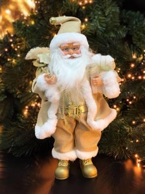 Санта стоит, золотой, 15 LED, 40 см - заказ и доставка цветов Киев