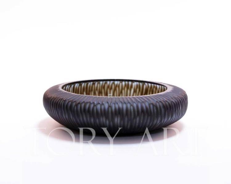 Блюдо стеклянное черно-синее, 7 см