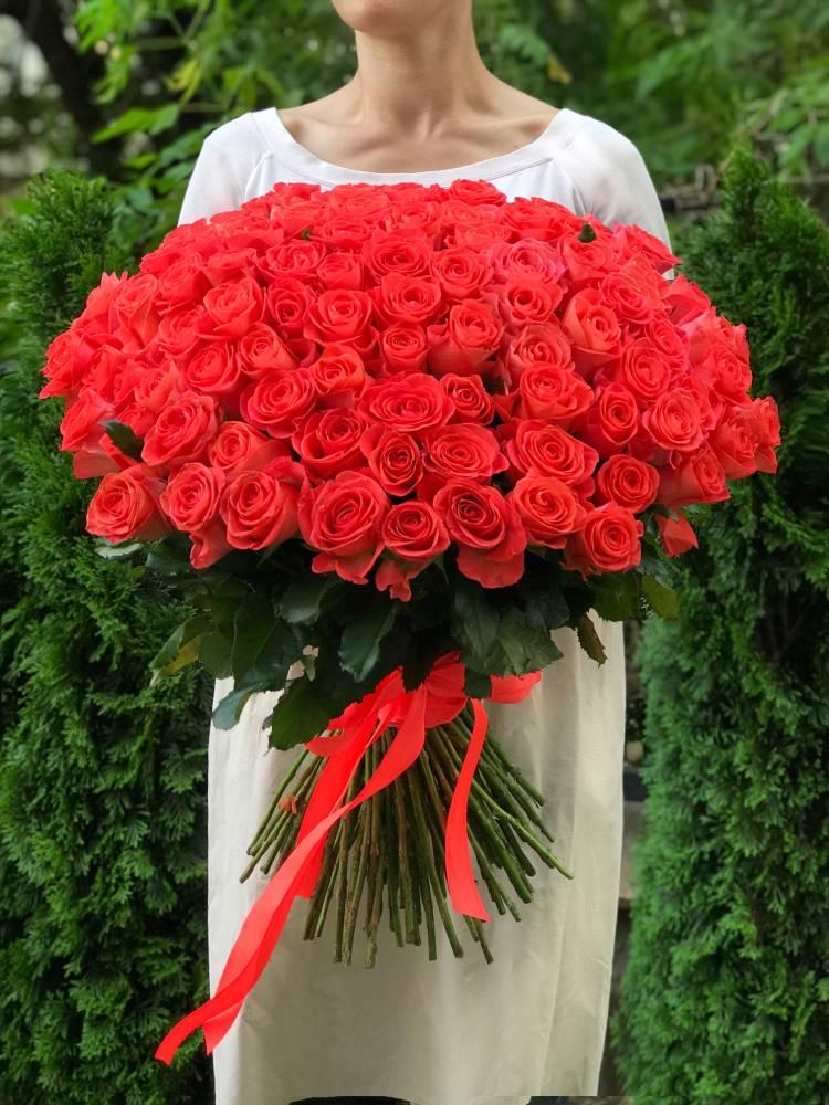 Букет 101 коралловая роза