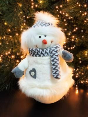 Декор Снеговик в серой шапочке, 40 см - заказ и доставка цветов Киев