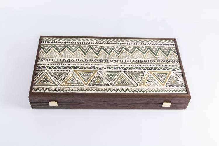 Нарды ручной работы деревянные в греческом стиле, L