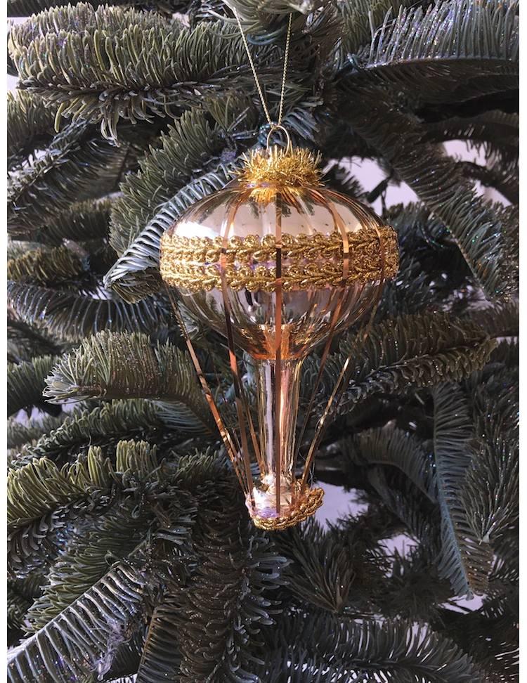 Ёлочное украшение стекло Воздушный шар шампань/золото, 15 см