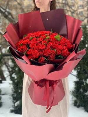 Букет 101 роза Эль Торо в упаковке - заказ и доставка цветов Киев