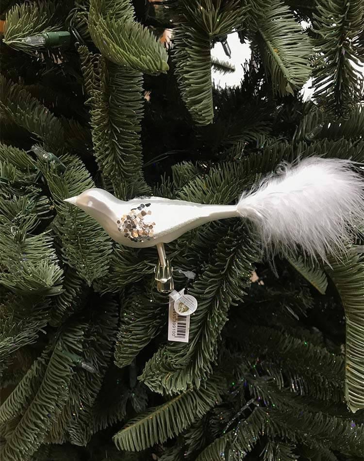 Ёлочная игрушка птичка стеклянная матовая на клипсе, в блёстках, белый/серебро, 20 см