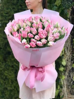 Букет 101 розовый пионовидный тюльпан - заказ и доставка цветов Киев