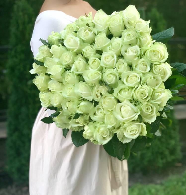 Букет 51 белая роза Премиум, 80 см