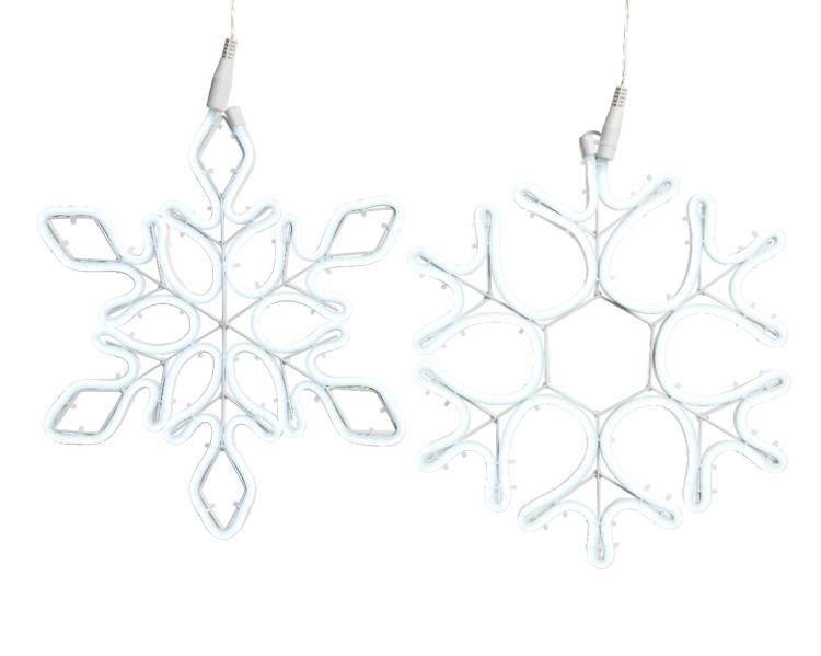 Неоновая LED снежинка холодный белый 27*34 см