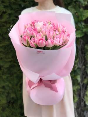 Букет 25 розовых пионовидных тюльпанов - заказ и доставка цветов Киев