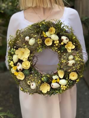 Декоративный пасхальный венок желтый - заказ и доставка цветов Киев