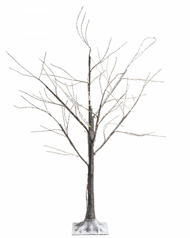 Дерево коричневое со снегом и LED огнями, 180 см