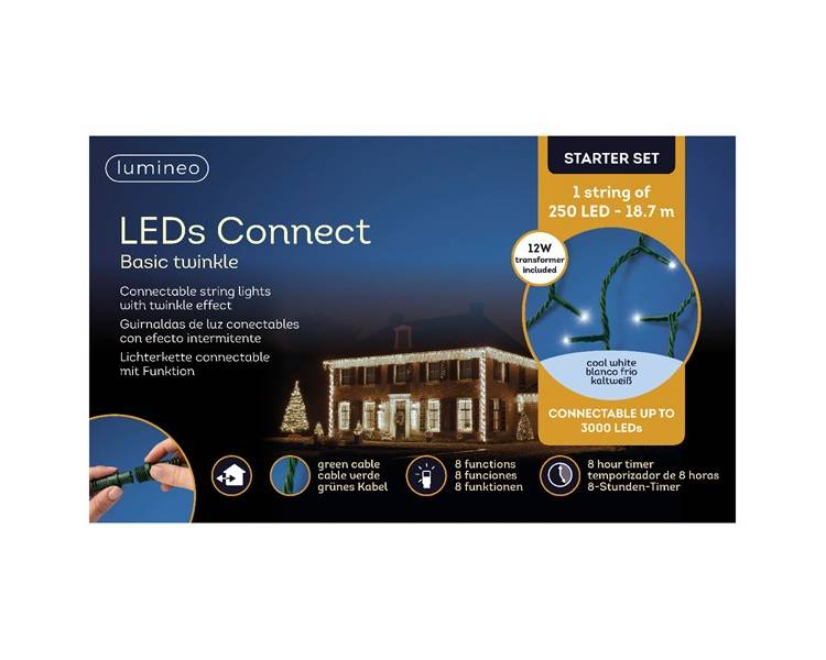 LED гирлянда Кластерная зелёный кабель холодный белый 1870 см
