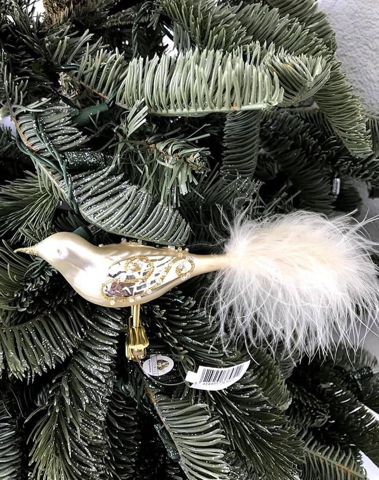 Ёлочная игрушка Птичка стеклянная матовая на клипсе, хром, 13 см