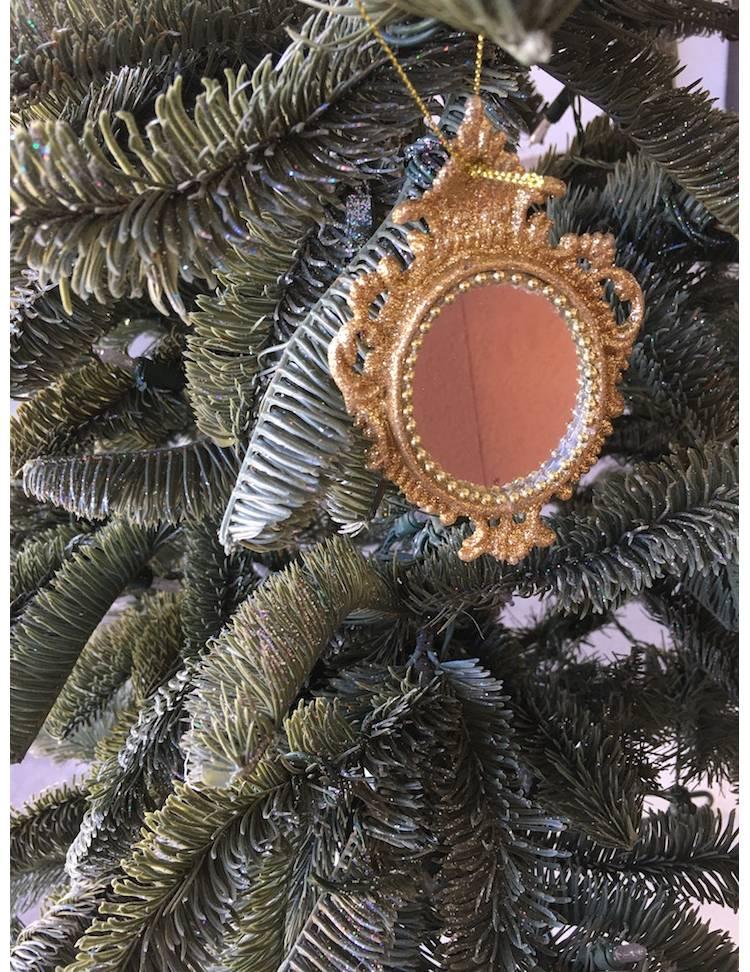 Ёлочное украшение Зеркало золото/шампань в ассортименте, 11 см