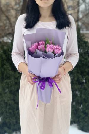 Bouquet of 7 Lilac Peony Tulips - заказ и доставка цветов Киев