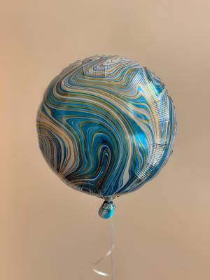 Шар фольгированный Круглый голубой мрамор - заказ и доставка цветов Киев
