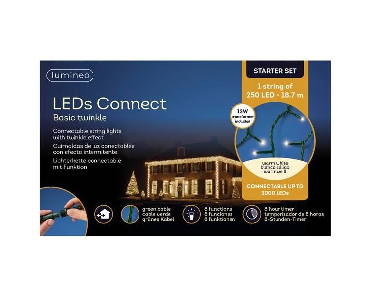 LED гирлянда Кластерная зелёный кабель тёплый белый 1870 см