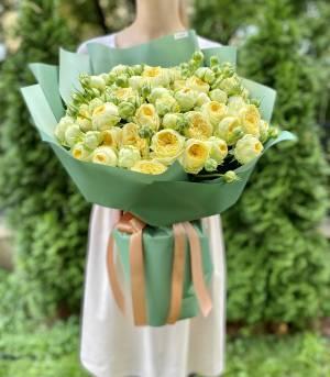 БУКЕТ 25 РОЗ СПРЕЙ ПИОНИ БАБЛС - заказ и доставка цветов Киев