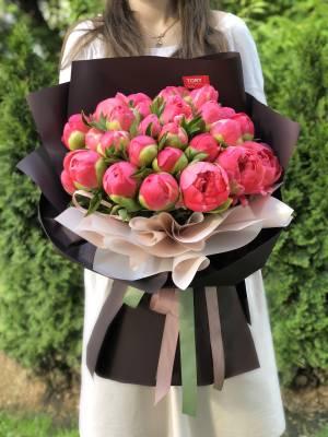 Букет 31 коралловый пион - заказ и доставка цветов Киев