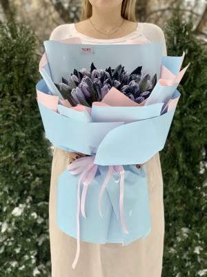 Букет 51 тюльпан Брауни - заказ и доставка цветов Киев