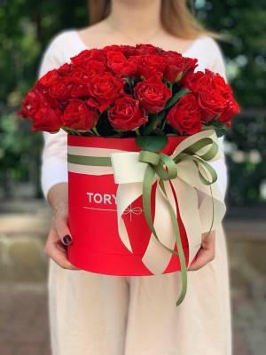 51 red roses El Toro in a Hatbox - заказ и доставка цветов Киев