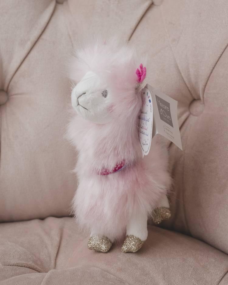 Брелок для ключей Лама розовая