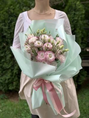 Букет 9 бело-розовых эустом - заказ и доставка цветов Киев
