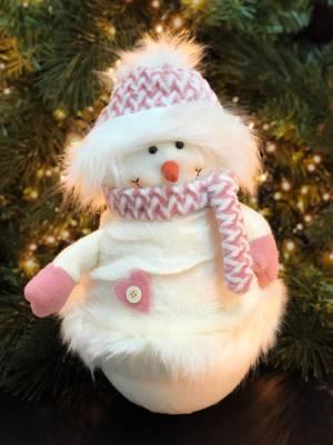 Декор Снеговик в розовой шапочке, 40 см - заказ и доставка цветов Киев