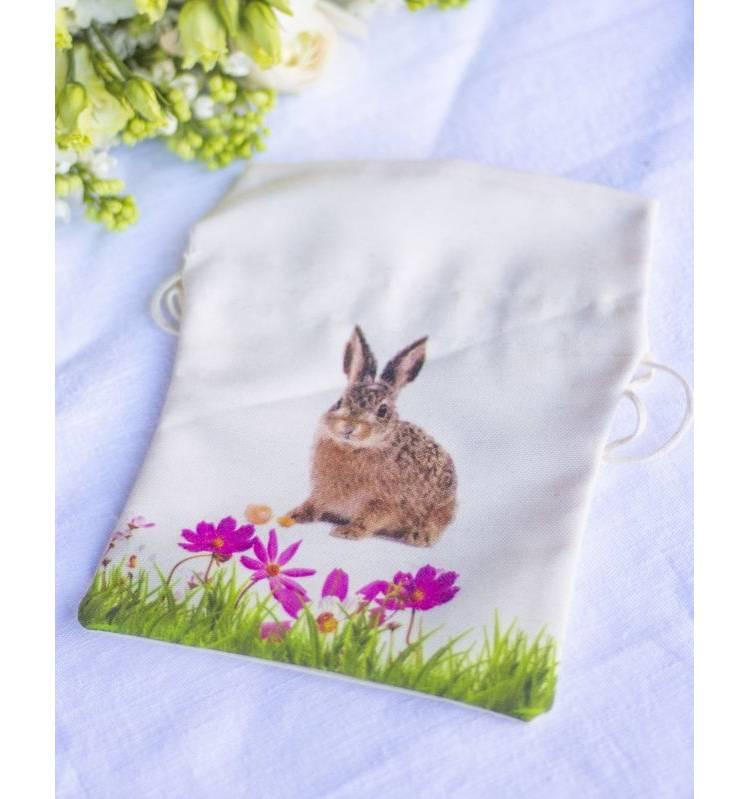 Подарочный пакет с кроликом, беж, (W/H) 20x30cm