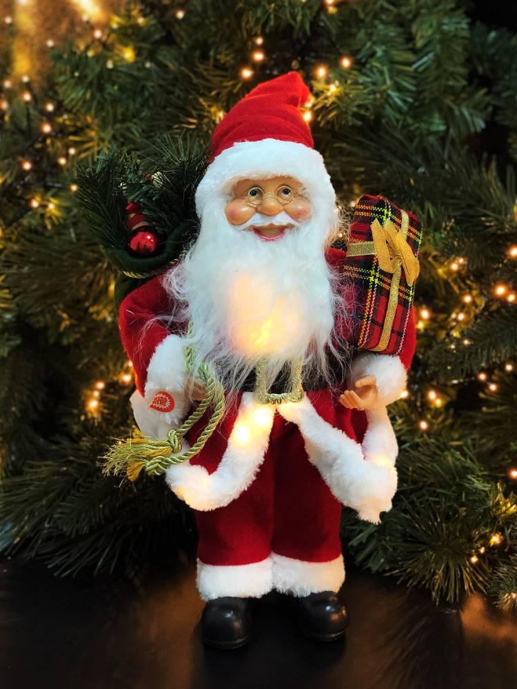 Санта промо, 15 LED, тканевый красный, 40 см