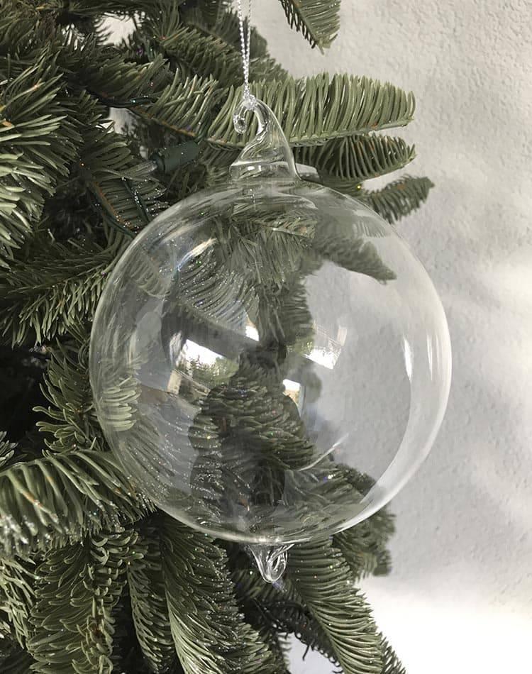 Шар стеклянный 2 крючка, 12 см