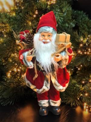 Санта промо, 15 LED, тканевый красный/бежевый/б... - заказ и доставка цветов Киев