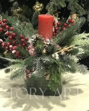 Новогодняя  композиция Заснеженная ель - заказ и доставка цветов Киев