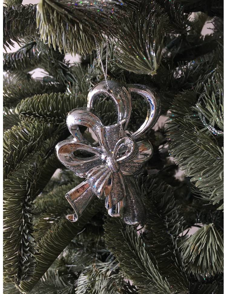 Ёлочное украшение Бант в блёстках серебро, 14 см