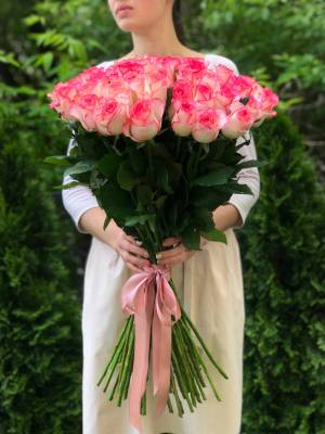 Букет 51 роза Джумилия Премиум, 80 см - заказ и доставка цветов Киев