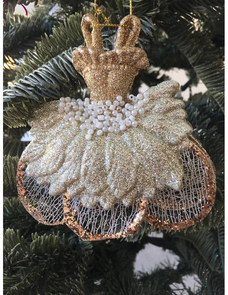 Ёлочное украшение Платье балерины в блёстках, 11 см