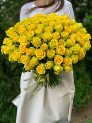Букет 101 Желтая роза - заказ и доставка цветов Киев