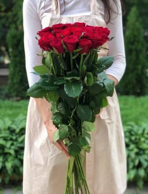 Букет 21 красная роза Премиум, 80 см - заказ и доставка цветов Киев