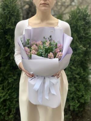 Букет 15 лиловых гиацинтов - заказ и доставка цветов Киев