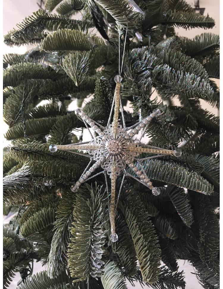 Верхушка на ёлку Северная звезда серебро, 21 см