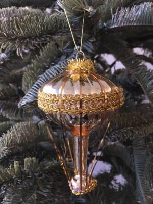 Ёлочное украшение стекло Воздушный шар шампань/... - заказ и доставка цветов Киев